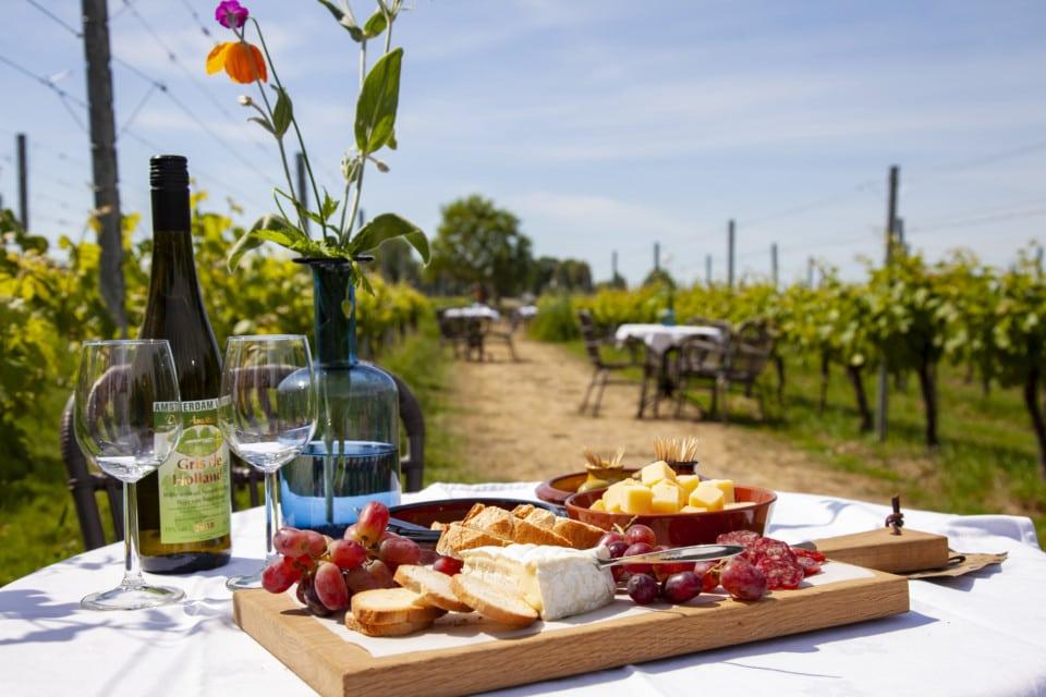 Tafel met wijn en hapjes (kaas, brie, stokbrood) in de wijngaard
